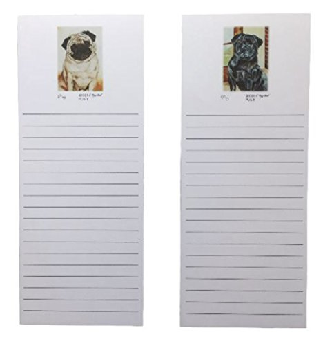 Pug Stationery - Pug Dogs Magnetic Refrigerator List Pad Set of 2