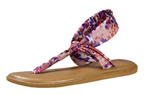 (Sanuk Womens Yoga Sling Ella Prints Sandal Spiced Coral Rain Size 6)