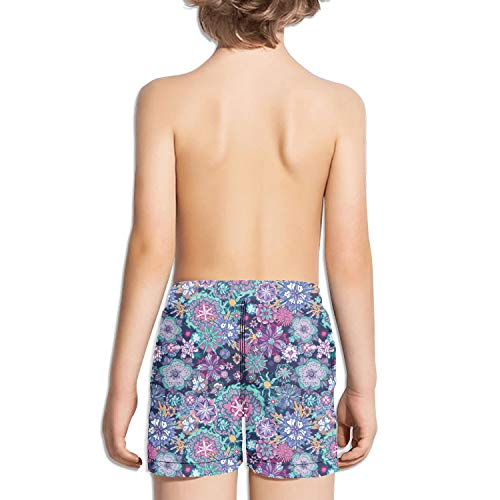 Wankens Kids Unisex Mini Blue Daisy pop Beach Swim Trunks Quick Drying Drawstring Shorts by Wankens (Image #1)