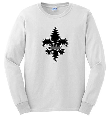 Mardi Gras Party Supplies Louisiana Gifts Mardi Gras Clothes Fleur de Lis Mardi Gras Apparel Long Sleeve T-Shirt Medium White ()