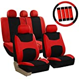 FH Group FB030RED115WB-AVC Combo Set with Steering Wheel Cover and Seat Belt Pad (Airbag Compatible and Split Bench Red)