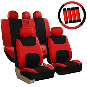 FH Group FB030RED-COMBO Seat Cover Combo Set with Steering Wheel Cover and Seat Belt Pad (Airbag Compatible and Split Bench Red)