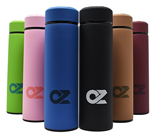ALL IN ONE Travel Mug by OZ - 16.9 Oz Double Wall Metal Vacuum Thermos | Hot Tea, Coffee, or Cold Fruit Infuser Water Bottle