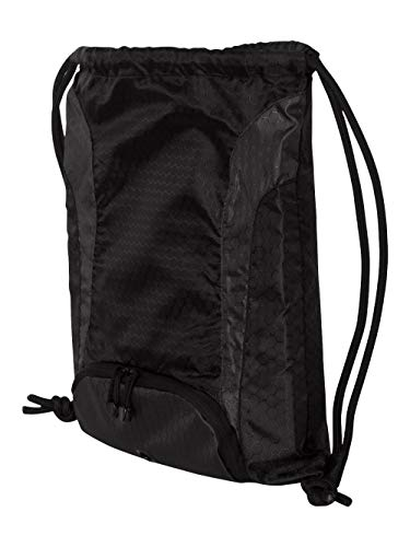 Liberty Bags Santa Cruz Drawstring Backpack, BLACK/BLACK, One - Drawstring Ripstop