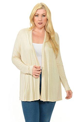 Pastel by Vivienne Women's Long Sleeve Jersey Plus Size Cardigan XXXX-Large Cream