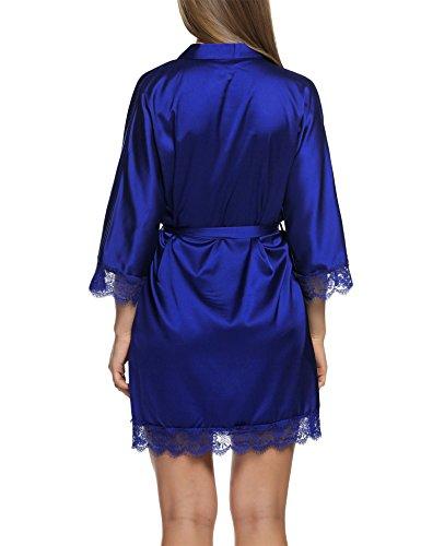 Raso Camice Vestaglia Reale Blu Pajamas Da Con Donna Kimono Corta Notte Elegante Pigiama Tipo1 Cintura Hotouch AZnxXtqWgw