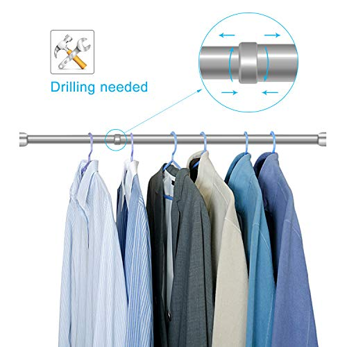 STARTOSTAR Adjustable Closet Rod 21.6 to 40.5 Inch Stainless Steel Clothes Rod with Smile Ends Stopper and Slide Buffering for Wardrobes, Shoe Cabinets (Silver) (Coat Rod)
