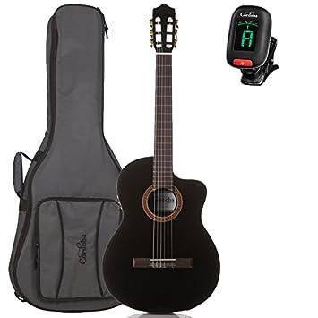 Cordoba c5-cebk nailon acústica guitarra eléctrica con bolsa de concierto y sintonizador, color negro: Amazon.es: Instrumentos musicales