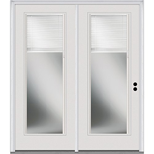 "National Door Company Z001658L Steel, Primed, Left Hand In-Swing, Center Hinged Patio Door, Clear Low-E Glass Internal Blinds, 72""x80"""