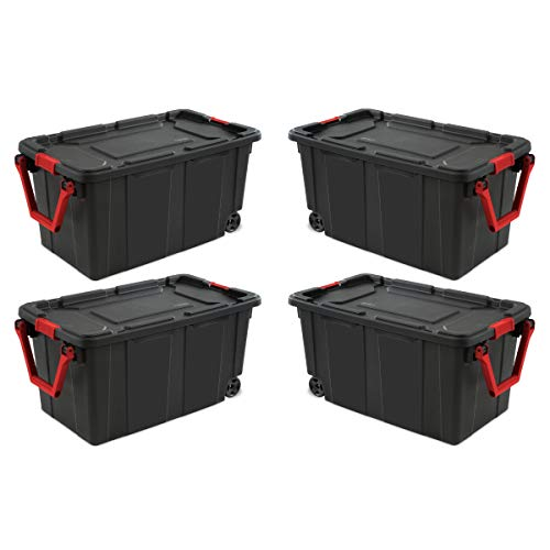 STERILITE 14699002 40 Gallon/151 Liter Wheeled Industrial Tote, Black Lid & Base w/Racer Red Handle & Latches, 2-Pack 40 Gallon