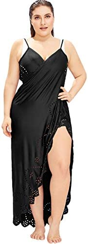 Milumia Womens Plus Size Scallop Spaghetti Strap Wrap Cover Up Swimwear Kimono