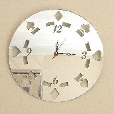 ServeWell Reloj de Espejo - de Fichas de Póker - 25 cm Diámetro
