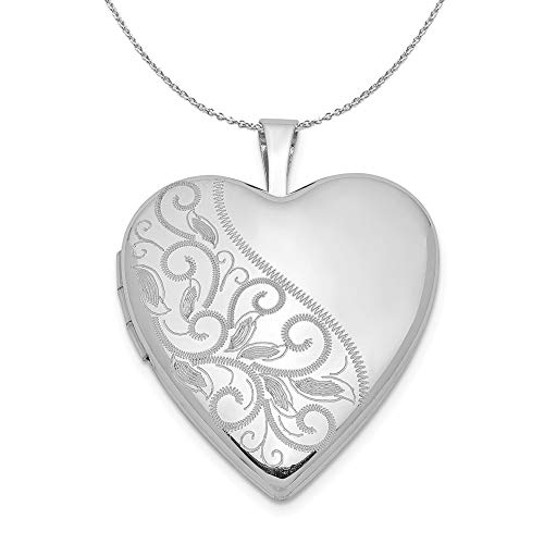 (Sterling Silver 20mm Scrolled Heart Locket Necklace - 16)
