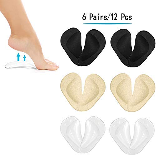 (12PCS) Arch Support,Soft Gel Insole Pads,High Heel Inserts Reusable Arch Cushions Best for Plantar Fasciitis and Flat Feet,Arch Pain Relief, for Men and Women
