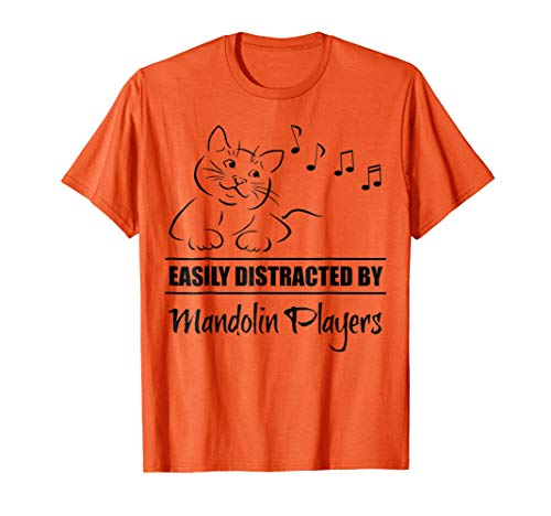 Curious Cat Easily Distracted by Mandolin Players Music Notes Orange T-Shirt