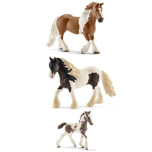 (Schleich Tinker Family Set of 3 Horses (Stallion, Mare and Foal) with Feed Bagged ready to give Farm Set)