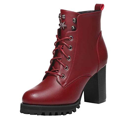 With Martin Velvet Wind e Boots Autunno British Warm Inverno Tacchi Plus alti Donna Red 7q7wH8Pr