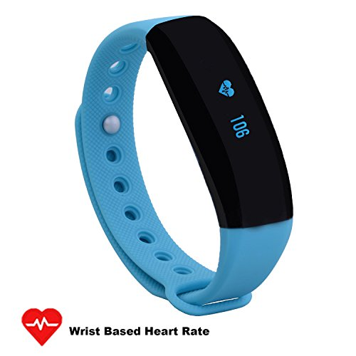 CUBOT V2 Wireless Activity Wristband, Heart Fitness Tracker with a Heart Rate Monitor, Pedometer, Step Counter, Distance Counter, Sleep Monitor for Android and iOS, Blue