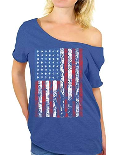 MAXIMGR USA Flag Off The Shoulder Top Shirt Women Casual Distressed American Flag Blouse Tees Shirt Size S (Blue) (Distressed Tee Long Sleeve)
