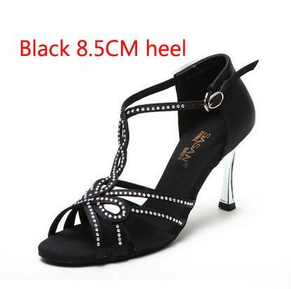 YFF T-font Strasssteinen Satin-Fabric Frauen Latin Dance Shoe 5,5cm 8,5cm Ferse Latin Tango Salsa Tango Schuh Mädchen Sansals,Schwarz 85 mm Absatz 3.5