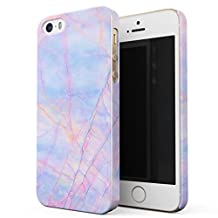 BURGA iPhone 5 / 5s / SE Case, Cotton Candy Marble Holographic Iridescent Colorful Unicorn Marble Thin Design Durable Hard Shell Plastic Protective Case For Apple iPhone 5 / 5s / SE