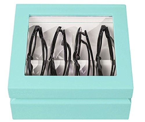 OYOBox Luxury Eyeglass Eyewear Unisex Mini Aqua Color Lacquer Finish Organizer Box by OYOBox