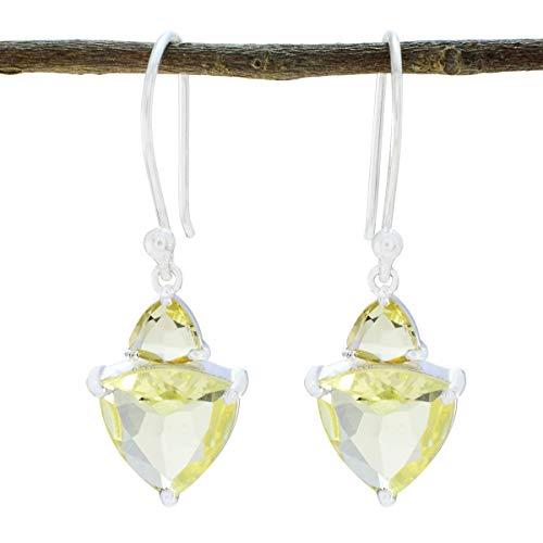 - RGPL Natural Gemstone Faceted Lemon Quartz Earring - 925 Silver Yellow Lemon Quartz Natural Gemstone Earring - Highest Jewelry Good Item Gift for Grandmother Hammered Earring