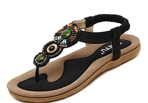YCMDM Frauen Sandalen Frühling Sommer Herbst Komfort Neuheit PU Outdoor Büro Karriere Kleid Casual Flat Heel Gore Walking , black , us6.5-7 / eu37 / uk4.5-5 / cn37
