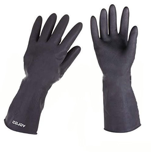 COJOY Reusable Household Washing Cleaning Gloves Latex Free Protection Safety Gloves with FDA Certificate for Kitchen Finshing Chemurgy Black L1 Pair