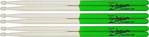 Zildjian Maple Green DIP Drumsticks 3-Pack 5B Wood Tip
