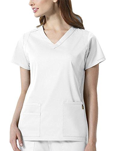 WonderWink Size Next Charlotte V-Neck Plus Women's Scrub Top, White, 5X-Large