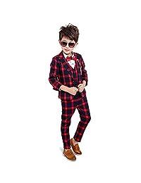 5PCS Little Boys Gentleman Suit Formal Wear Grid Coat Shirt Vest Pants Outfit Set