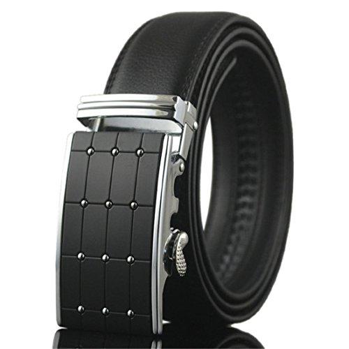 (KHC Men's Leather Ratchet Dress Belt with Automatic Adjustable Buckle, Large size Color Black)
