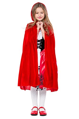 SAMCOS Halloween Little Red Riding Hood Costumes Children Dress Cosplay Velvet Cloak Costume for Kids Girls (Large, Red)]()