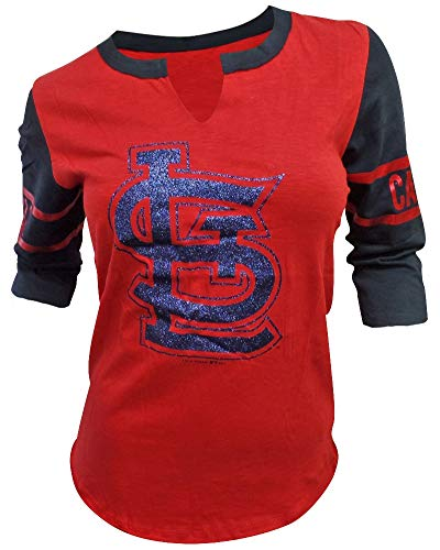 5th & Ocean St. Louis Cardinals Women's 3/4 Sleeve V-Notch Slub Jersey X-Large