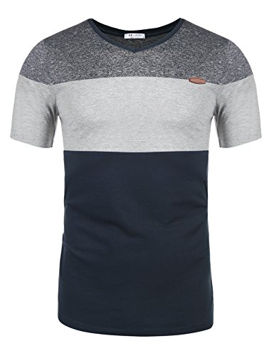 Jersey Stitch V-neck Pullover - Misakia Men Soft Elasticity Slim Fit Block Stitch V Neck Short Sleeve Jersey T Shirt (Navy Blue XL)