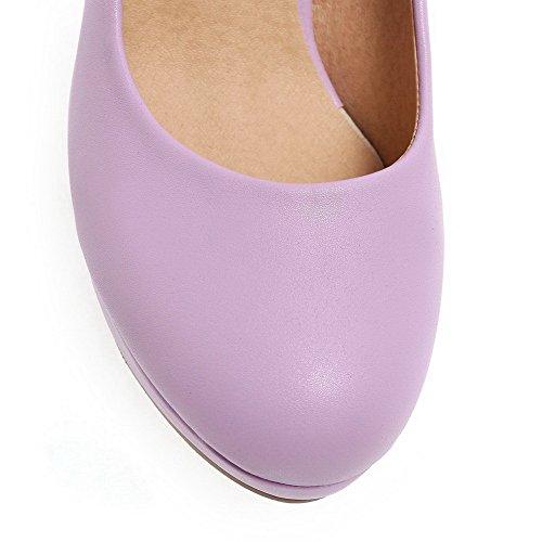 BalaMasa da donna a punta rotonda Pull-On high-heels morbido materiale pumps-shoes, Viola (Purple), 35