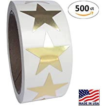 Gold Metallic Star Shape Foil Sticker Labels, 500 Labels per Roll, 1 1/2 inch diameter, 1.5""