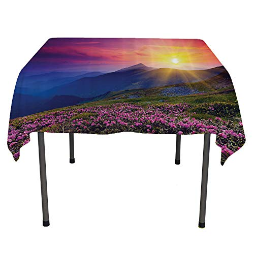 Deco Collection Buffet Displays - Nature Landscape Decor Collection, Waterproof Table CoverMagical Fairy Horizon with Flowers on The Valley and Mountain Mysterious Photo Deco, for Outdoor and Indoor Use, 36x36 Inch Multi