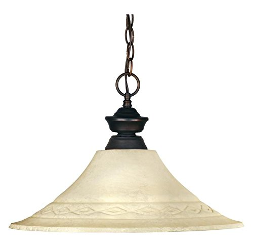 Olde Bronze Riviera 1 Light Down Light Olde Bronze Pendant With Cream Glass Bell -