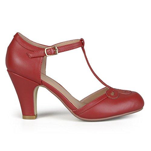 Brinley Co Women's Patsie Pump, red, 6.5 Regular - T-strap Pumps Leather Platform