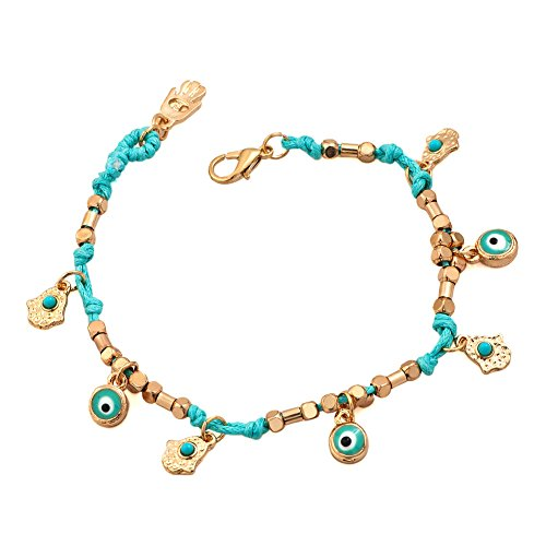 LovelyJewelry Evil Eye and Hamsa Hand Good Luck Bracelet Blue String Handmade For Girls 7.5? LovelyJewelry