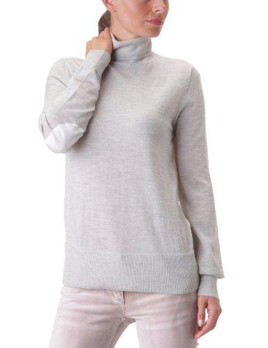 American Retro - Jersey con cuello cisne de manga larga para mujer Gris