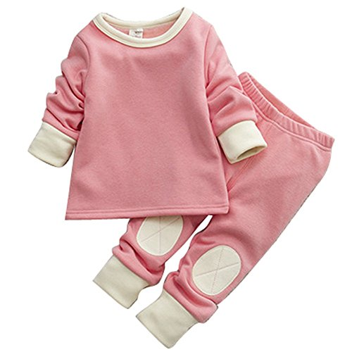 Baby Toddler Girls Winter Pyjamas Set Fleece Lined Long Sleeve Thermal Underwear Casual Tracksuit Clothing Set