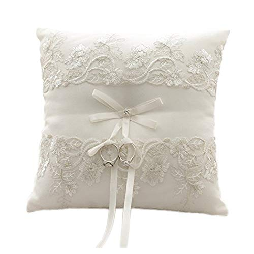 Amajoy Ivory Wedding Ring Pillow Ring Cushion with Lace Flower, 8.2 inch (21cmx 21cm) Ring Bearer for Beach Wedding, Wedding Ceremony