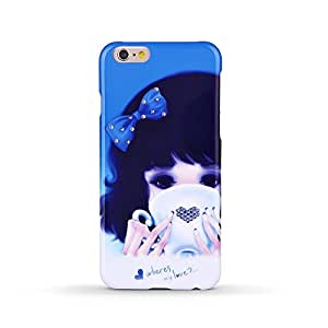 iPhone 6 Case - Oriental Emotion Series of hard case for iPhone 6 from Kingxbar, produced by industrial In-Mold Decoration technique, dotted with bling Swarovski crystals by utilizing strong glue to craft, and portraying girls or pets from the Orient (Blue)