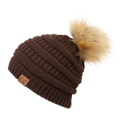 Hatsandscarf CC Exclusives Unisex Ombre Ribbed Confetti Knit Beanie with POM (HAT-43) (Brown)