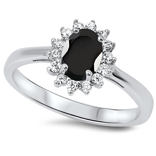 925 Sterling Silver Faceted Natural Genuine Black Onyx Oval Flower Halo Ring Size 6