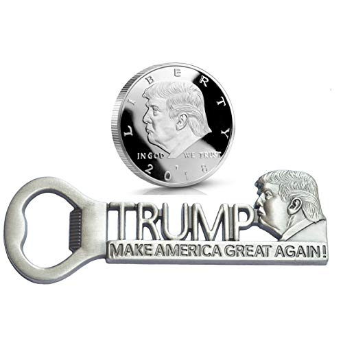 [ Donald Trump Supporter Gifts ] Make America Great Again Bottle Opener and Donald Trump Silver Plated Collectible Challenge Coin 2020, Super Gifts for Republican Conservative