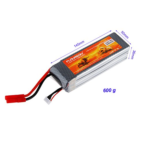 2 Packs Floureon® Reachargeable 4S 35C Lipo RC Battery Packs 14.8V 5000mAh Li-Polymer Battery with HXT 4mm Plug for RC Airplane, RC Helicopter, RC Car, RC Truck, RC Boat